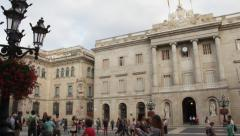 Old City Council  on  San Jaume Square, Barcelona Stock Footage