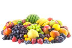 mix of fresh organic fruits isolated on white - stock photo
