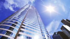 Office building with sun flare 4K - stock footage