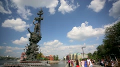 Pan view of monument to Peter the Great. Stock Footage