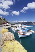 Fishing boats, harbour, Agia Galini, South Coast, Crete, Greek Islands Stock Photos