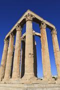 standing corinthian columns, early morning, temple of olympian zeus, athens,  - stock photo