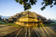 Early morning light at the temple complex of borobodur, unesco world heritage Stock Photos