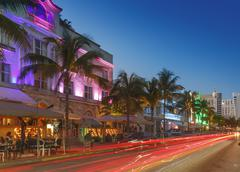 art deco district at night, ocean drive, south beach, miami beach, florida, u - stock photo