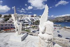 Monument of dadalos and icarus, agia galini, south coast, crete, greek island Stock Photos