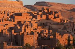 kasbah ait benhaddou, an ancient fortified village (ksar) on the old caravan  - stock photo