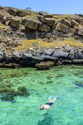 Man snorkelling in the clear waters of telegraph island in the khor ash-sham  Stock Photos