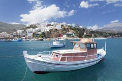 Fishing boat, harbour, Agia Galini, South Coast, Crete, Greek Islands Stock Photos