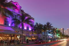 Art deco district at night, ocean drive, south beach, miami beach, florida, u Stock Photos