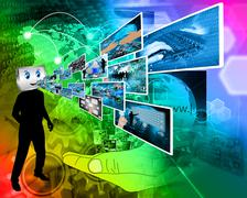 Stock Illustration of cheerful computer