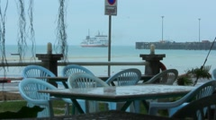 View from restaurant on ship and floating pier in the rain. Koh Samui Stock Footage