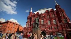 Statue of marshal Zhukov in front of Historical museum Stock Footage