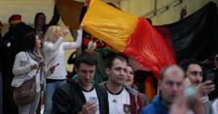 Ultra HD 4K Group German Football Fans Enter Stadium Public Viewing Semifinal Stock Footage
