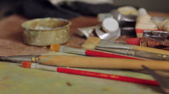 Paint Brushes Stock Footage