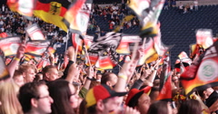UHD 4K German Happy Crowd People Waving Flags Celebrating Cheering Germany Team - stock footage