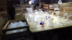 Glassworks in Harrahov, Czech Republic. Glass factory warehouse Stock Footage