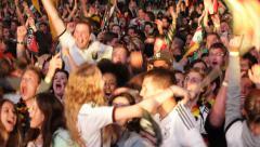 Ultra HD 4K German Football Team Fans Enjoy First Goal Semifinal Germany Brazil - stock footage
