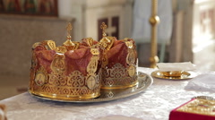 Orthodox Wedding Crowns Stock Footage
