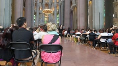 Interior of Sagrada Familia  catherdral in Barcelona Stock Footage