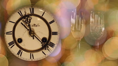 New Year's clock and glasses with champagne Stock Footage