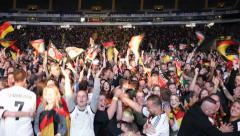 Ultra HD 4K German Football Team Crowd Fans Cheering Goal Fourth Germany Brazil - stock footage