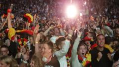 UltraHD 4K Fans of German Soccer Team Celebrating Fifth Goal Germany Brazil Stock Footage
