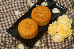 chinese moon cake,food for chinese mid-autumn festival - stock photo