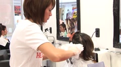 Preparing hair for colouring in Hair salon Stock Footage