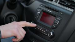 Driver Tuning Radio In Car Stock Footage