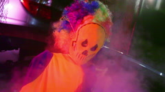 Haunt attraction skeleton clown thing Stock Footage