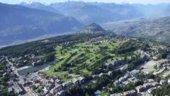 Aerial shots of Crans-Montana - Switzerland Stock Footage
