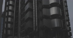 4K Ultra HD London Lloyd's Building Exterior Vertical Panning Shot Stock Footage