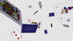 Playing Cards - Flying - Loop - 3 - Alpha Channel - 30 fps Stock Footage