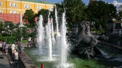 "Fountain ""Four Seasons"" on Manezh Square. - stock footage"