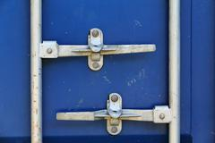 blue cargo freight container shipping, door contrainer lock - stock photo
