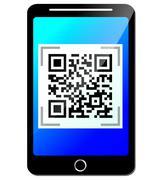 Vector qr code on phone Stock Illustration