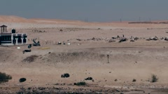 Egypt the Suez Canal 030 soldiers in the desert near Al Qantara Stock Footage