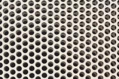 background of white steel metal with circle perforated holes - stock photo