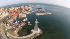 Bird's eye view Bulgaria Nessebar old town HD 1080 (1920X1080) Stock Footage