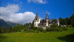 Pelesh castle, Romania. Timelapse Stock Footage