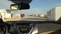People walking inside Zaatari Refugee Camp_03 Stock Footage