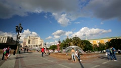 People walk at the Manezh Square. Stock Footage