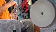 Glassworks. Glassware factory. Employee polishing crystal vase Stock Footage