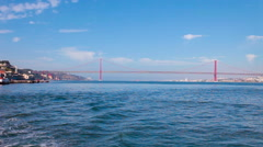 Crossing the tagus river from cacilhas towards lisbon Stock Footage