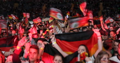 UHD 4K Germany Football Team Fans Happy Young Supporters Celebrating Champions - stock footage