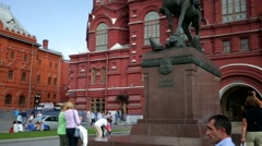 Statue of marshal Zhukov in front of Historical museu Stock Footage