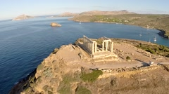 Temple of Poseidon aerial view Stock Footage