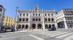 Rossio railway station in lisbon Stock Footage