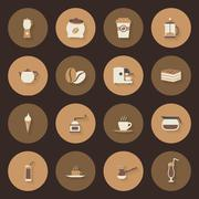 coffe flat icons set - stock illustration