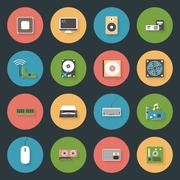 Computer peripherals and parts flat icons set Stock Illustration